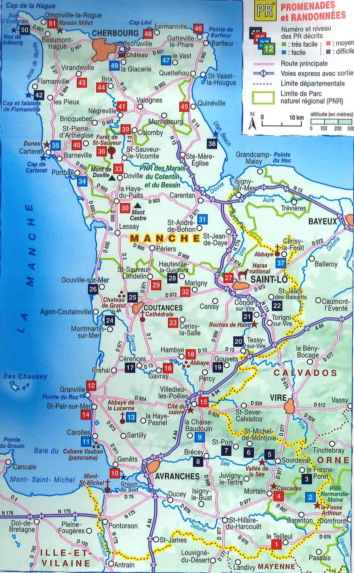 Carte sites touristiques manche